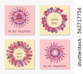 set of romantic greeting cards. ... | Shutterstock .eps vector #562717756