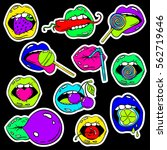 colorful fun set of female lips ... | Shutterstock .eps vector #562719646