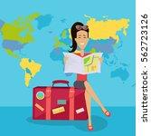 smiling brunette woman seating... | Shutterstock .eps vector #562723126