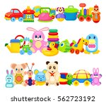 set of colourful children toys... | Shutterstock .eps vector #562723192