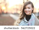 portrait with young beautiful... | Shutterstock . vector #562725022