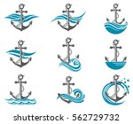 collection of anchor symbol... | Shutterstock .eps vector #562729732