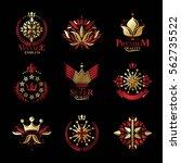 royal symbols  flowers  floral...   Shutterstock .eps vector #562735522