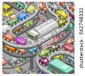 rush hour horror  huge traffic... | Shutterstock .eps vector #562748332