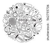 handdrawn set of sport elements ...