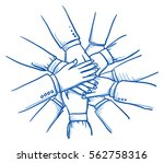 stack of business hands ... | Shutterstock .eps vector #562758316