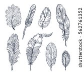 set of sketched feathers. free... | Shutterstock .eps vector #562761352
