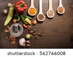 hot peppers  seeds  spices and... | Shutterstock . vector #562766008