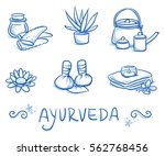 set of ayurveda symbols and... | Shutterstock .eps vector #562768456