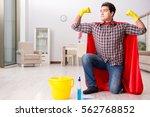 super hero husband cleaning...   Shutterstock . vector #562768852