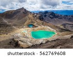 Landscape view of colorful Emerald lakes and volcanic landscape, Tongariro national park, New Zealand