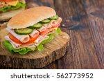 turkey ham sandwich with cheese ... | Shutterstock . vector #562773952