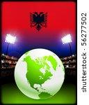 albania flag with globe on... | Shutterstock .eps vector #56277502