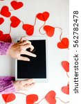 love hearts symbol and woman...   Shutterstock . vector #562782478
