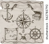 pirates hand drawn vector set.... | Shutterstock .eps vector #562783792