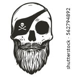 pirate skull with beards and