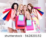 happy young group of women with ... | Shutterstock . vector #562820152