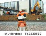 orange theodolite  geodetic...   Shutterstock . vector #562830592