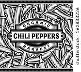 retro chili pepper harvest... | Shutterstock . vector #562833226
