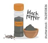 vector black pepper... | Shutterstock .eps vector #562853836
