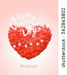 happy valentines day wishes.... | Shutterstock .eps vector #562863802