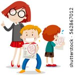boy with full score and boy... | Shutterstock .eps vector #562867012