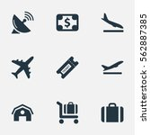 set of 9 simple airport icons.... | Shutterstock .eps vector #562887385