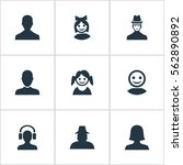 set of 9 simple avatar icons.... | Shutterstock . vector #562890892