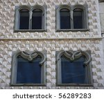 Detail of the windows of the façade of the Casa dos Bicos, a national monument in Lisbon - stock photo