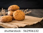 Oatmeal Raisin Cookies On Wood...