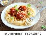 spaghetti pasta with meatballs  ... | Shutterstock . vector #562910542