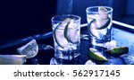 closeup vodka in a glass with...   Shutterstock . vector #562917145