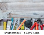 maintenance plan tools on wood... | Shutterstock . vector #562917286