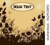 flowers and butterflies ... | Shutterstock .eps vector #562923892