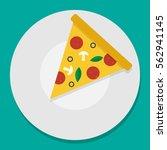 vector illustration pizza on... | Shutterstock .eps vector #562941145