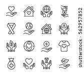 set of charity icons in modern...   Shutterstock .eps vector #562957852