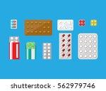 medicine pills capsules... | Shutterstock .eps vector #562979746