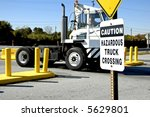 A Hazardous Truck Crossing - stock photo