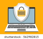 laptop and shield with padlock... | Shutterstock .eps vector #562982815