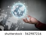 human hand holding our planet... | Shutterstock . vector #562987216