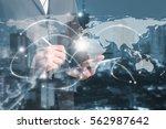 double exposure of businessmen...   Shutterstock . vector #562987642