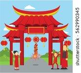 chinese man playing firecracker ... | Shutterstock .eps vector #562990345