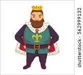 king. fat man with crown and... | Shutterstock .eps vector #562999132