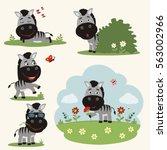 vector set funny zebra in... | Shutterstock .eps vector #563002966