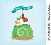 roll cake in birthday   Shutterstock .eps vector #563005222