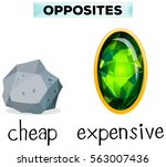 opposite words for cheap and... | Shutterstock .eps vector #563007436
