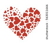 big heart composed of small red ... | Shutterstock .eps vector #563011666