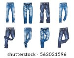 set of jeans trousers isolated...