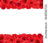 Stock vector vector horizontal seamless background with red roses 563030722