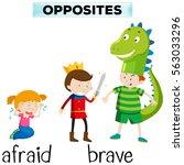 opposite words for afraid and... | Shutterstock .eps vector #563033296